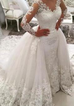 Appliques Long Sleeves V Neck Watteau Train Mermaid Lace Wedding Dress