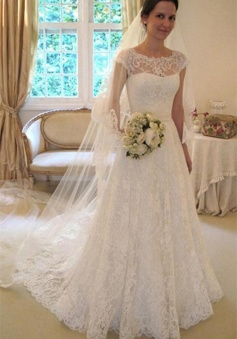 Cap Sleeves Scoop Mermaid Ivory Zipper Back Long Lace Wedding Dress