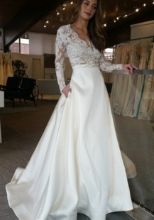 Deep V-Neck Appliques Pockets Long Sleeves Sweep Train A-Line Satin Wedding Dress