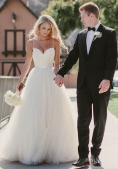 Spaghetti Straps Court Train A-Line Wedding Dress with Tulle