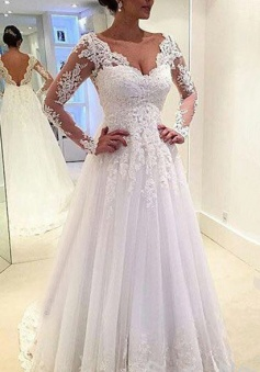 Long Sleeves Appliques Lace V Neck Open Back A-line Wedding Dress