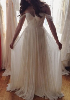 Sleeveless Off-the-Shoulder Floor-Length Chiffon A Line Wedding Dresses