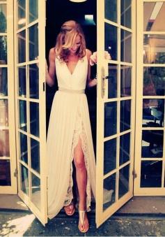 V-neck Sleeveless Beading Sweep Train Chiffon Wedding Dresses