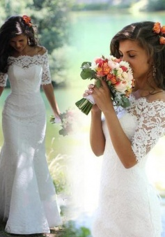 Trumpet Off-the-Shoulder Half Sleeves Lace Wedding Dresses  Sweep/Brush Train