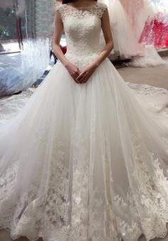 Bateau Applique Court Train Ball Gown Sleeveless Tulle Wedding Dresses