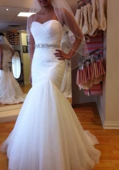 Floor-Length Trumpet/Mermaid Sleeveless Tulle Sweetheart Wedding Dresses