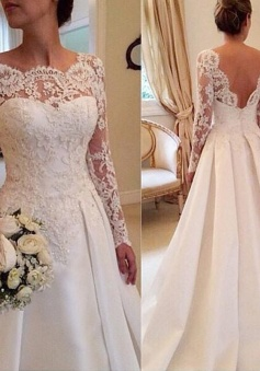 Long Sleeves Lace Court Train Scoop Satin Wedding Dresses