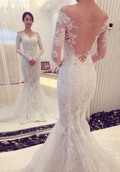 Off-the-Shoulder Long Sleeves Mermaid Lace Sweep Train Wedding Dresses