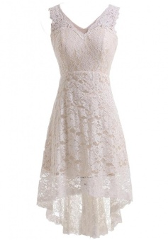 High Low V-neck Lace Short Wedding Dress