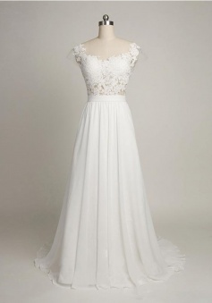 Cap Sleeves Sweep Train A-Line Chiffon Wedding Dress with Lace