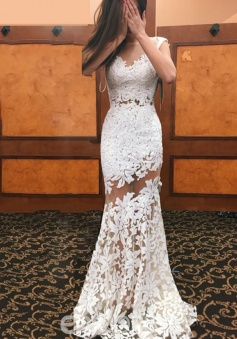 Appliques Scoop Backless Sheath Lace Wedding Dress