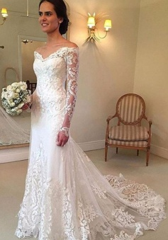 Off-the-shoulder Long Sleeve Lace Sheath V-neck Court-Train Wedding Dress