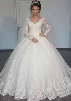 Long-Sleeves Lace Elegant Ball V-Neck Tulle Wedding Dress BA4209