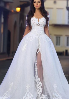 White A-Line Elegant 2018 Bride Dress Appliques Tulle Long Sleeves Wedding Dresss BA4426