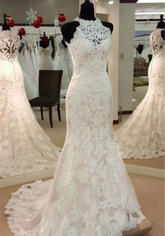 2018 Retro High Neck Mermaid Lace Wedding Dresses Sleeveless Vintage Bridal Dress BA3705