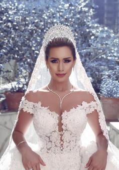 2018 V-neck Off Shoulder Wedding Dresses Lace Ball Gown Bridal Gowns BA3538