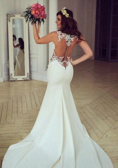 Sheer Back Lace Buttons Wedding Dress 2018 Mermaid Sleeveless Sexy Bridal Gowns BA3691