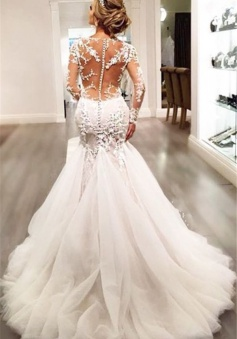 Lace Mermaid 2018 Breathtaking Wedding Dresses V-neck Long Sleeve Modern Bridal Gowns WE0037