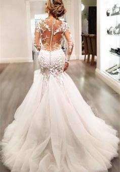 Lace Mermaid 2018 Breathtaking Wedding Dresses V-neck Long Sleeve Modern Bridal Gowns WE0037