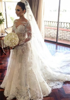 Classic Lace A Line Wedding Dress 2018 Long Sleeve with Flowers Custom Made Wedding Gowns BA3455