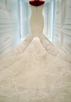 Luxurious Off the Shoulder Mermaid Wedding Dress with Beadings Sexy Court Train Lace Bridal Gown JT139