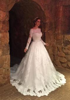 Vintage Bateau Long Sleeve Princess Dress Bowknot Lace Ball Gown Princess Dress BA6349