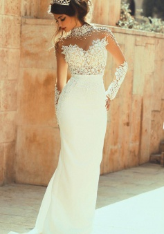 High Collar Beadings Long Sleeve White Bridal Gowns Crystal Lace Floor Length Wedding Dresses