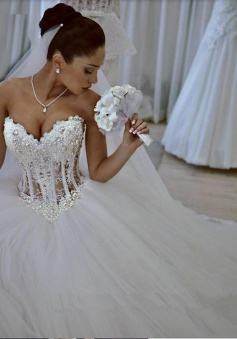 Sparkly Crystal Ball Gown Corset Wedding Dress with Beadings Sweetheart Tulle Princess Bridal Gown