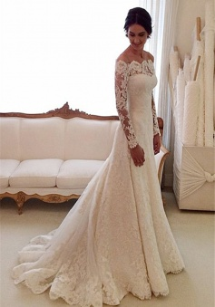 White Off-the-shoulder Lace Long Sleeve Bridal Gowns Sheath Cheap Simple Custom Made Wedding Dresses