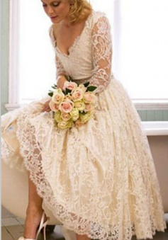 A-Line V-Neck 3/4 Long Sleeve Lace Wedding Dress New Arrival Tea Length Plus Size Bridal Gown BA6794