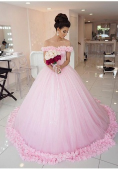 Chic Pink Off The Shoulder Evening Dresses 2018 Ball Gown Flowers Puffy Wedding Dresses