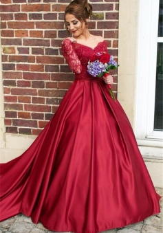 Off The Shoulder Long Sleeve Evening Dresses Dark Red V-neck Pretty 2018 Wedding Dresses