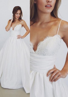 Elegant Spaghetti-Straps Lace Wedding Dress 2018 A-Line Bridal Gowns