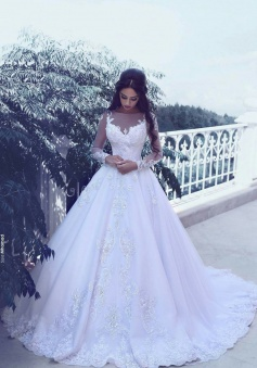 Elegant Tulle Appliques Long Sleeves Wedding Dresses 2018 Bridal Ball Gowns