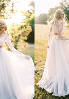 Chiffon Long-Sleeves Lace Two-Piece A-line Elegant Wedding Dresses