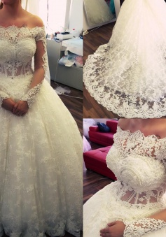 2018 Amazing Ball-Gown Off-the-Shoulder Lace Long-Sleeves Pearls Wedding Dresses