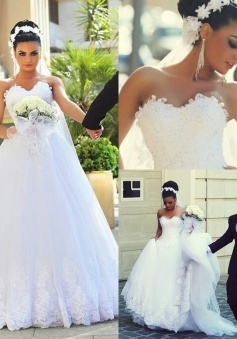 Newest A-line Sweetheart Lace Cheap Bride Dresses 2018 Sleeveless Sexy Wedding Dress Online BA7292