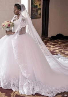 2018 Lace-Appliques Ball-Gown Gorgeous Cap-Sleeve Long Tulle Wedding Dress