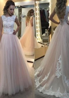Elegant Lace-up Lace A-Line Sleeveless Tulle Wedding Dress