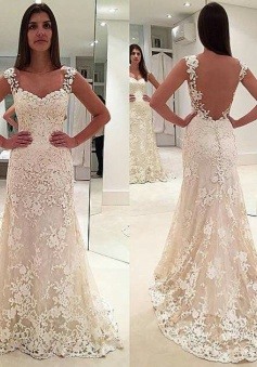 Elegant Sleeveless Backless Bride Dress Cheap Straps Lace Champagne Wedding Dresses