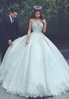 Sleeveless Appliques Popular Bride Dress 2018 V-neck Lace Latest Ball Gown Wedding Dress