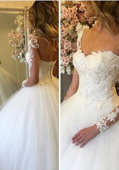 Ball Gown Lace Up Bride Dress 2018 Long Sleeves Glam Lace Wedding Dress BA7300