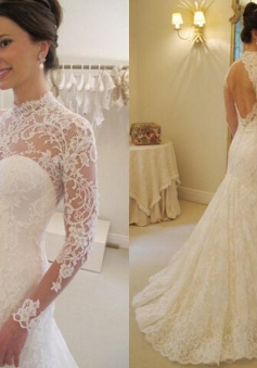 Long-Sleeves Lace Mermaid Elegant Sweep-Train Backless Wedding Dress