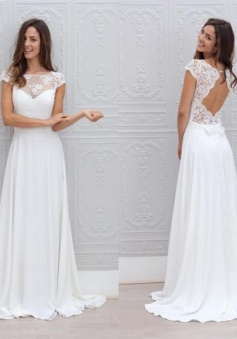 Backless Sweep-train A-line Short-Sleeves Simple White Chic Wedding Dress