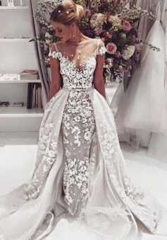 Popular 2018 Overskirt Open Back Bride Dress Sleeves Illusion Lace Appliques Wedding Dress