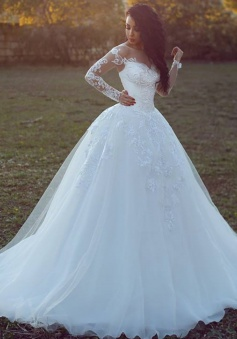 Long-Sleeves Appliques Glamorous Tulle Ball Wedding Dress