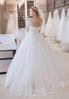 Princess Lace-Up 2018 Bride Dress Cheap Stunning Floor-Length Lace Half-Sleeve Wedding Dress