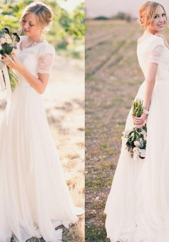 A-line Popular Lace Chiffon V-neck Modest Short-Sleeves Wedding Dresses