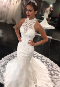 Sweep Train High Neck Bride Dress 2018 Retro Lace Sleeveless Mermaid Newest Wedding Dress
