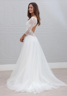 Simple V-neck Bride Dress Lace Tulle A-line Backless 2018 Wedding Dress